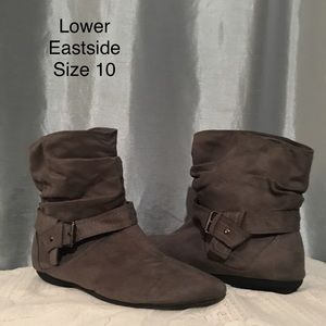 Grey flat booties